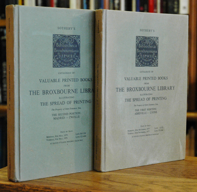 Catalogue of Valuable Printed Books from The Broxbourne Library illustrating The Spread of Printing (The Property of John Ehrman, Esq.) two volumes. na.