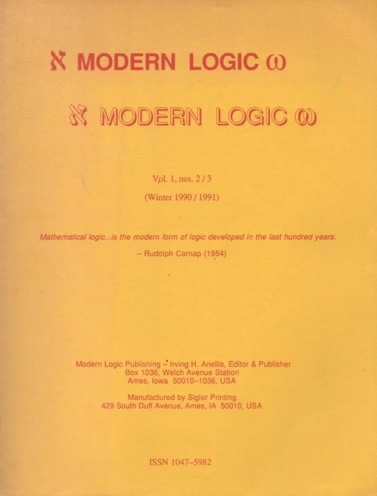 Modern Logic_ Vol. 1, No. 2/3 (Winter 1990/1991). Irving H. Anellis.