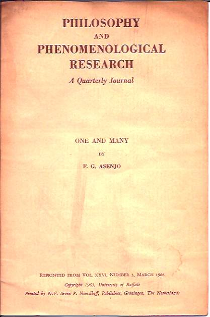 One and Many__Philosophy and Phenomenological Research, A Quarterly Journal__Vol. XXVI. F. G. Asenjo.