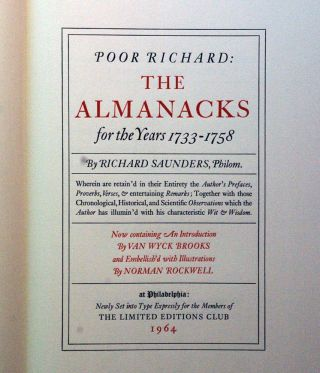 Poor Richard: The Almanacks for the Years 1733-1758