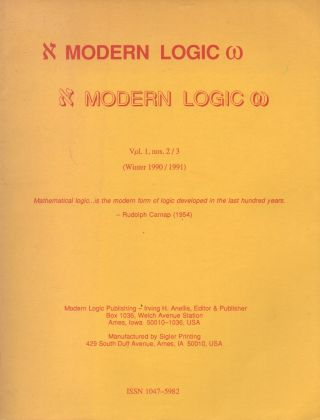 Modern Logic_ Vol. 1, No. 2/3 (Winter 1990/1991). Irving H. Anellis