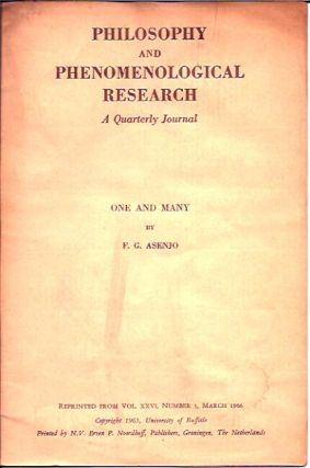 One and Many__Philosophy and Phenomenological Research, A Quarterly Journal__Vol. XXVI. F. G. Asenjo